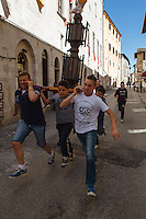 Europe,Italy,Umbria,Gubbio,La Festa dei Ceri, tradition is one of the most exciting and unique in Europe and takes place in the city of Gubbio May 15 of each year. The candles are three wooden machines in the form of octagonal prisms and decorated, weighing about 4 tons, carried triumphantly on the shoulders of ceraioli in honor of St. Ubaldo, the patron saint of the city.