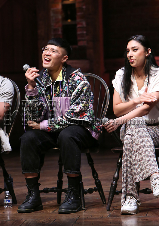 """Preston Mui and Lauren Boyd during the Q & A before The Rockefeller Foundation and The Gilder Lehrman Institute of American History sponsored High School student #eduHAM matinee performance of """"Hamilton"""" at the Richard Rodgers Theatre on 3/12/2020 in New York City."""