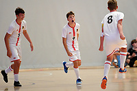 Torhan Kurnaz of Hamilton Boys' High School celebrates after he scores during the Futsal NZ Secondary Schools Junior Boys Final between Hamilton Boys High School and Selwyn College at ASB Sports Centre, Wellington on 26 March 2021.<br /> Copyright photo: Masanori Udagawa /  www.photosport.nz