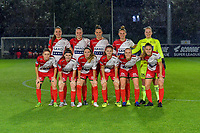 team picture Zulte-Waregem ( Romy Camps (3) , Lotte De Wilde (19) , Charlotte Laridon (9) , Margaux Van Ackere (7) , goalkeeper Lowiese Seynhaeve (1) and Debbie Decoene (23) , Liesa Capiau (15) , Talitha De Groote (17) , Amber De Priester (6) , Ella Vierendeels (4) , Pauline Windels (5) ) pictured before a female soccer game between AA Gent Ladies and SV Zulte-Waregem on the fifth matchday in the 2021 - 2022 season of Belgian Scooore Womens Super League , friday 1 October 2021  in Oostakker , Belgium . PHOTO SPORTPIX | STIJN AUDOOREN
