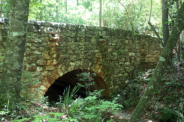 During the 1930's, the Civilian Conservation Corp constructed a drive through the park, including this stone bridge.  The bridge is now included in the trail system through the park.