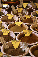 Assorted spices in village market, Provence, France