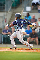 Corpus Christi Hooks second baseman Tony Kemp (7) at bat during a game against the Arkansas Travelers on May 29, 2015 at Dickey-Stephens Park in Little Rock, Arkansas.  Corpus Christi defeated Arkansas 4-0 in a rain shortened game.  (Mike Janes/Four Seam Images)