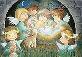 Interlitho, Soledad, CHRISTMAS CHILDREN, naive, paintings, angels, Jesus, lambs(KL2326,#XK#) Weihnachten, Navidad, illustrations, pinturas