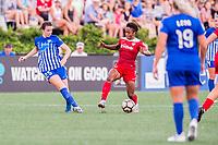 Boston, MA - Saturday July 01, 2017: Morgan Andrews and Francisca Ordega during a regular season National Women's Soccer League (NWSL) match between the Boston Breakers and the Washington Spirit at Jordan Field.