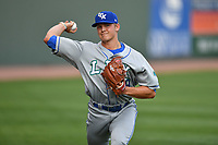 Starting pitcher Jace Vines (29) of the Lexington Legends warms up prior to a game against the Greenville Drive on Wednesday, April 12, 2017, at Fluor Field at the West End in Greenville, South Carolina. Greenville won, 4-1. (Tom Priddy/Four Seam Images)