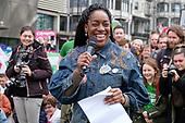 Labour MP Kate Osamur addresses Left Bloc rally, People's Vote march, Park Lane, London.