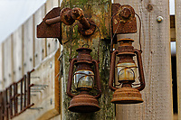 A pair of old rusty lanterns in Aberporth