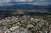 aerial photograph of central Santa Fe, New Mexico with the State Capitol building in the foreground