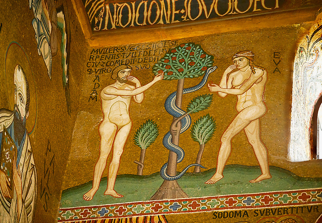 Medieval Byzantine style mosaics of the story of Adam & Eve eating fruit from tree,  the Palatine Chapel, Cappella Palatina, Palermo, Italy