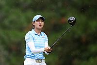 CHAPEL HILL, NC - OCTOBER 13: Jennifer Zhou of the University of North Carolina tees off at UNC Finley Golf Course on October 13, 2019 in Chapel Hill, North Carolina.