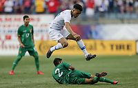 Chester, PA - Monday May 28, 2018: Antonee Robinson, Carlos Añez during an international friendly match between the men's national teams of the United States (USA) and Bolivia (BOL) at Talen Energy Stadium.