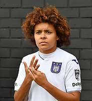 Kassandra Missipo (12 Anderlecht) pictured before a female soccer game between Club Brugge Dames YLA and RSC Anderlecht Ladies on the fifth matchday of the 2020 - 2021 season of Belgian Scooore Womens Super League , sunday 18 October 2020  in Brugge , Belgium . PHOTO SPORTPIX.BE | SPP | DAVID CATRY