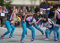 Madison Hill and other members of the Underground Dance Company perform during the 2016 Downtown Summer Solstice Festival in  Anchorage.