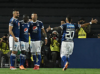 BOGOTA - COLOMBIA, 17-04-2018: Ayron del Valle (#7) jugador de Millonarios de Colombia celebra con sus compañeros después de anotar el segundo gol de su equiopo a Deportivo Lara de Venezuela durante partido por la fecha 3, grupo G, de la CONMEBOL Libertadores 2018 jugado en el estadio Nemesio Camacho El Campin de la ciudad de Bogotá. / Ayron del Valle (#7) player of Millonarios of Colombia celebrates with his teammates after scoring the second goal of his team to Deportivo Lara of Venezuela during match for the date 3, group G, of the CONMEBOL Libertadores 2018 played at Nemesio Camacho El Campin stadium in Bogota city. Photo: VizzorImage / Gabriel Aponte / Staff.