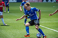 SAN JOSE, CA - APRIL 24: Tommy Thompson #22 of the San Jose Earthquakes turns with the ball during a game between FC Dallas and San Jose Earthquakes at PayPal Park on April 24, 2021 in San Jose, California.