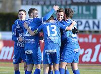 FC Knokke - OMS Ingelmunster : vreugde bij Knokke na de 3-0 van Jorgo Waeghe<br /> Foto VDB / Bart Vandenbroucke