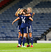 21st September 2021; Hampden Park, Glasgow, Scotland: FIFA Womens World Cup qualifying, Scotland versus Faroe Islands; Chloe Arthur of Scotland celebrates after she scores to make it 2-0 in the 21st minute