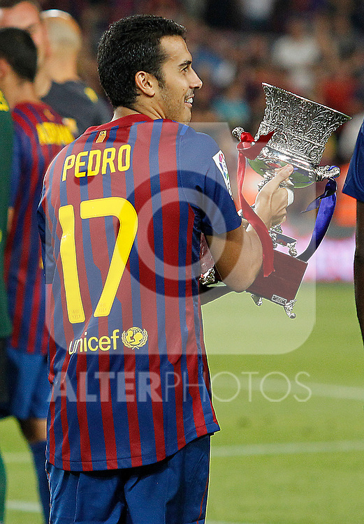 FC Barcelona's Pedro Rodriguez celebrate the victory during Spanish Supercup 2nd match.August 17,2011. (ALTERPHOTOS/Acero)