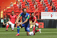 Kieran Dowell of Wigan, on loan from Everton, takes a knee ahead of kick-off during Charlton Athletic vs Wigan Athletic, Sky Bet EFL Championship Football at The Valley on 18th July 2020