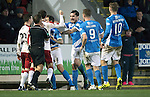 St Johnstone v Rangers…28.12.16     McDiarmid Park    SPFL<br />Paul Paton and Richie Foster square up to Andy Halliday and Jason Holt<br />Picture by Graeme Hart.<br />Copyright Perthshire Picture Agency<br />Tel: 01738 623350  Mobile: 07990 594431