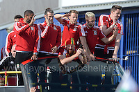 The Wales squad arrive at the stadium on an open top bus during the homecoming celebrations at the Cardiff City stadium on Friday 8th July 2016 for the Euro 2016 Wales International football squad.<br /> <br /> <br /> Jeff Thomas Photography -  www.jaypics.photoshelter.com - <br /> e-mail swansea1001@hotmail.co.uk -<br /> Mob: 07837 386244 -