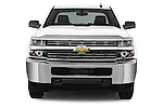 Car photography straight front view of a 2015 Chevrolet Silverado 2500 HD Work Truck Double Cab LWB 4 Door  Front View