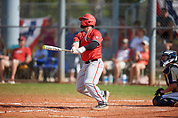 Ball State Cardinals first baseman John Ricotta (31) bats during a game against the Mount St. Mary's Mountaineers on March 9, 2019 at North Charlotte Regional Park in Port Charlotte, Florida.  Ball State defeated Mount St. Mary's 12-9.  (Mike Janes/Four Seam Images)
