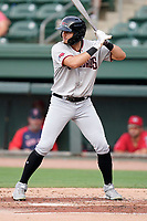 Left fielder Kole Enright (12) of the Hickory Crawdads in a game against the Greenville Drive on Friday, June 18, 2021, at Fluor Field at the West End in Greenville, South Carolina. (Tom Priddy/Four Seam Images)