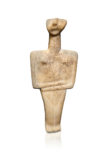 Cycladic Post Canonical type, Chalandrian variety female figurine statuette. Early Cycladic Period II Late Syros phase, (2500-2300 BC), Museum of Cycladic Art Athens, cat no 102.  Against white.
