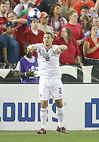 Heath Pearce #2 of the USA takes a throw in during a CONCACAF Gold Cup match against Honduras at RFK Stadium on July 8 2009 in Washington D.C. USA won the match 2-0.
