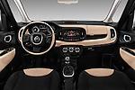 Stock photo of straight dashboard view of 2016 Fiat 500L Living Popstar 5 Door Mini MPV Dashboard
