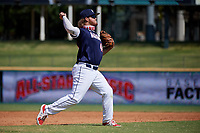 Third baseman Tommy White (44) throws to first base during the Baseball Factory All-Star Classic at Dr. Pepper Ballpark on October 4, 2020 in Frisco, Texas.  Tommy White (44), a resident of St Pete Beach, Florida, attends IMG Academy.  (Mike Augustin/Four Seam Images)
