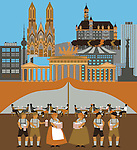 Illustration showing top tourist attractions in Germany
