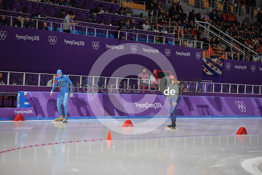 OLYMPIC GAMES: PYEONGCHANG: 15-02-2018, Gangneung Oval, Long Track, 10.000m Men, Davide Ghiotto (ITA), Jorrit Bergsma (NED), ©photo Martin de Jong