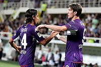 Dusan Vlahovic of ACF Fiorentina celebrates with Youssef Maleh after scoring the goal of 3-0 during the Italy cup football match between ACF Fiorentina and Cosenza calcio at Artemio Franchi stadium in Florence (Italy), August 13th, 2021. Photo Andrea Staccioli / Insidefoto
