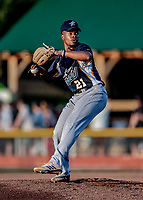 12 June 2021: Westfield Starfires pitcher Solomon Washington, from Brentwood, TN, on the mound against the Vermont Lake Monsters at Centennial Field in Burlington, Vermont. The Lake Monsters defeated the Starfires 4-1 at Centennial Field, in Burlington, Vermont. Mandatory Credit: Ed Wolfstein Photo *** RAW (NEF) Image File Available ***