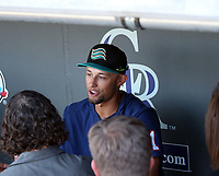 Royce Lewis speaks to the media prior to the annual Arizona Fall League Fall Stars Game at Salt River Fields on October, 12, 2019 in Scottsdale, Arizona (Bill Mitchell)