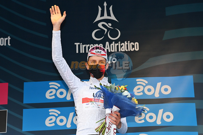 Tadej Pogacar (SLO) UAE Team Emirates takes over the young riders Maglia Bianca at the end of Stage 3 of Tirreno-Adriatico Eolo 2021, running 219km from Monticiano to Gualdo Tadino, Italy. 12th March 2021. <br /> Photo: LaPresse/Gian Mattia D'Alberto | Cyclefile<br /> <br /> All photos usage must carry mandatory copyright credit (© Cyclefile | LaPresse/Gian Mattia D'Alberto)