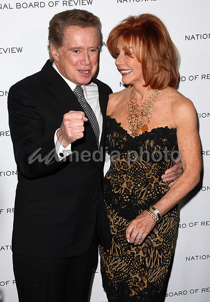 """Regis Philbin dies at 88 - 18 January 2011 - New York, NY - Regis Philbin and Joy Philbin.  Regis Philbin announced at the start of Tuesday morning """"Live With Regis and Kelly"""" which he hosted for a quarter-century says that he is stepping down from the show around the end of the summer. Photo Credit: Paul Zimmerman/AdMedia<br /> 12 January 2010 - New York, NY - Regis Philbin and Joy Philbin.  National Board of Review of Motion Picture Awards Gala held at Cipriani 42nd Street. Photo Credit: Paul Zimmerman/AdMediaRegis Philbin dies at 88"""