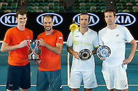 January 30, 2016: Jamie Murray of United Kingdom and Bruno Soares of Brazil and Daniel Nestor of Canada and Radek Stepanek of Czech Republic pose for photos after the Men's Doubles Final on day thirteen of the 2016 Australian Open Grand Slam tennis tournament at Melbourne Park in Melbourne, Australia. Murray and Soares won 26 64 75. Photo Sydney Low