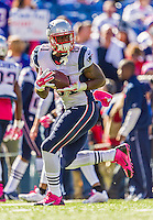 12 October 2014: New England Patriots tight end Timothy Wright warms up prior to facing the Buffalo Bills at Ralph Wilson Stadium in Orchard Park, NY. The Patriots defeated the Bills 37-22 to move into first place in the AFC Eastern Division. Mandatory Credit: Ed Wolfstein Photo *** RAW (NEF) Image File Available ***