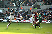 Pictured: Swansea's Michu with a first half chance<br />