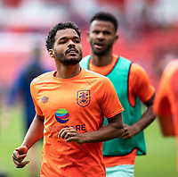 11th September 2021;  Bet365 Stadium, Stoke, Staffordshire, England; EFL Championship football, Stoke City versus Huddersfield Town; Duane Holmes of Huddersfield Town during the warm up