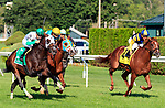 Hunter O'Riley  (no. 5) wins the Grade II 2017 Bowling Green Stakes  July 29 at Saratoga Race Course, Saratoga Springs, NY.  The winner, ridden by Florent Geroux and trained by James Toner, bested Bigger Picture by a neck in the 1 3/8 mile race on the turf.  (Bruce Dudek/Eclipse Sportswire)