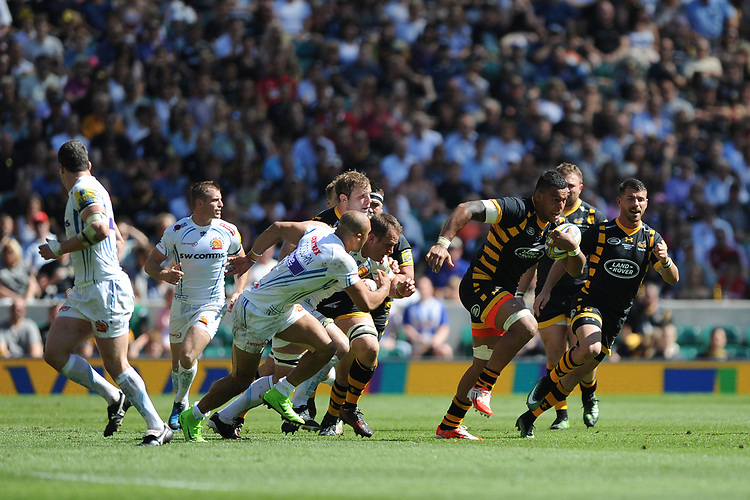 Nathan Hughes of Wasps in action during the Premiership Rugby Final at Twickenham Stadium on Saturday 27th May 2017 (Photo by Rob Munro)