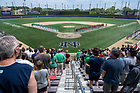 June 4, 2021; Players line up on the field for the National Anthem at the opening game against Central Michigan of the NCAA Tournament at Frank Eck Stadium.  Notre Dame won 10-0.  (Photo by Barbara Johnston/University of Notre Dame)
