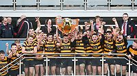 Friday 17th March 2017 | ULSTER SCHOOLS CUP FINAL<br /> <br /> RBAI skipper Michael Lowry raises the famous trophy after the Ulster Schools Cup Final between RBAI and MCB at Kingspan Stadium, Ravenhill Park, Belfast, Northern Ireland.<br /> <br /> Photograph by John Dickson | www.dicksondigital.com