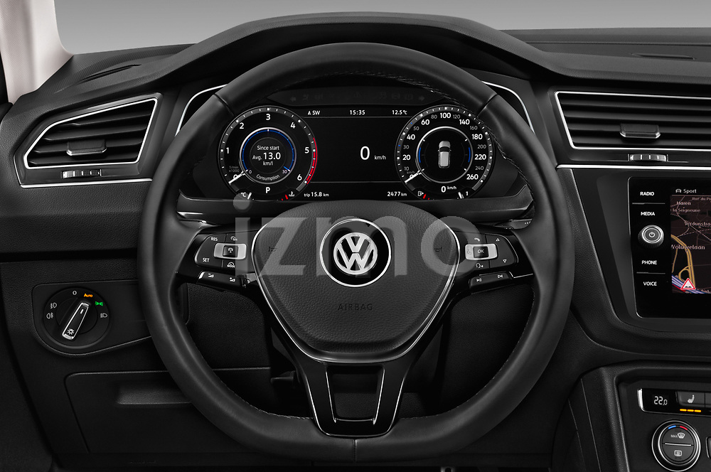 Car pictures of steering wheel view of a 2018 Volkswagen Tiguan Allspace Highline 5 Door SUV