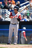 Lowell Spinners designated hitter Cisco Tellez (48) at bat during a game against the Batavia Muckdogs on July 17, 2014 at Dwyer Stadium in Batavia, New York.  Batavia defeated Lowell 4-3.  (Mike Janes/Four Seam Images)